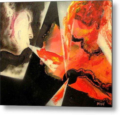 Metal Print featuring the painting Keeping Up A Fire by Evguenia Men