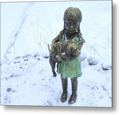 Decoration Metal Print featuring the photograph Little Girl With A Puppy In Her Arms. by Kateryna Klymenko