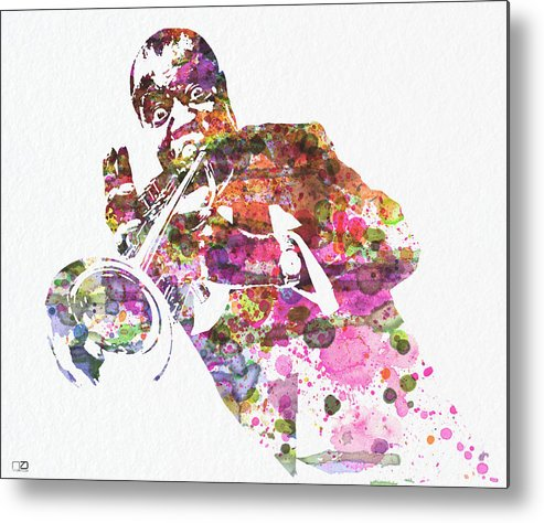 Louis Armstrong Metal Print featuring the painting Louis Armstrong 2 by Naxart Studio