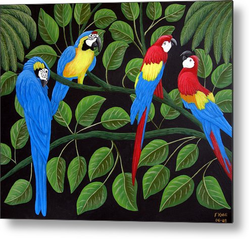 Birds Paintings Metal Print featuring the painting Macaws by Frederic Kohli