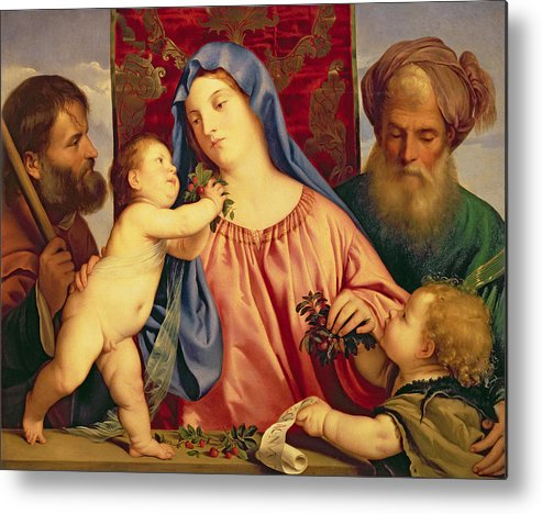 Madonna Metal Print featuring the painting Madonna Of The Cherries With Joseph by Titian