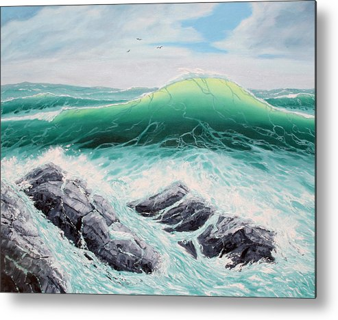 Sea Scapes Metal Print featuring the painting Majestic Sea by Lorraine Foster