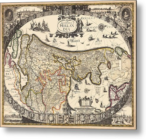 Holland Metal Print featuring the photograph Map Of Holland 1630 by Andrew Fare