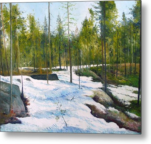 Sweden Metal Print featuring the painting Melting Snow At Umea Norrbotten Sweden 2002  by Enver Larney