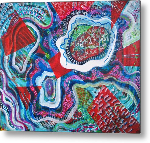 Abstract Metal Print featuring the painting Microcosm Ix by Rollin Kocsis