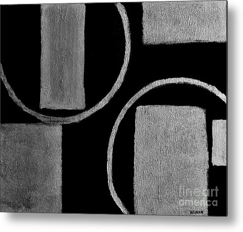 Painting Metal Print featuring the painting Modern Shapes Silver by Marsha Heiken