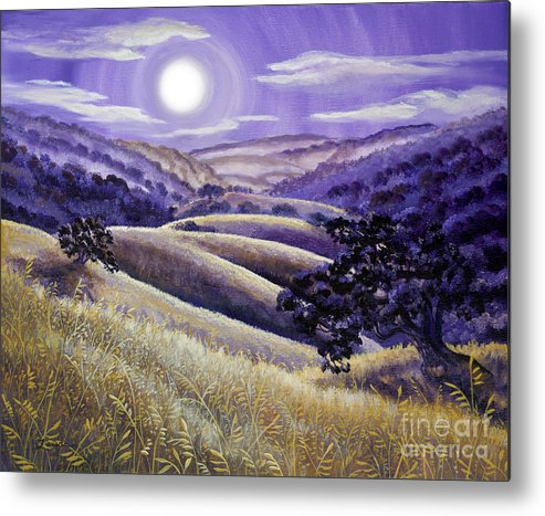 Landscape Metal Print featuring the painting Moonrise Over Monte Bello by Laura Iverson