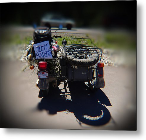 Motorcycle Metal Print featuring the photograph Motorcycle Love Story by Leah Stark
