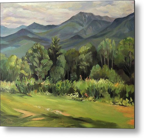 White Mountain Paintngs Metal Print featuring the painting Mount Lafayette From Sugar Hill New Hampshire by Nancy Griswold