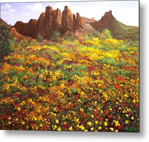 Connie Tom Metal Print featuring the painting Mountain Wildflowers II by Connie Tom