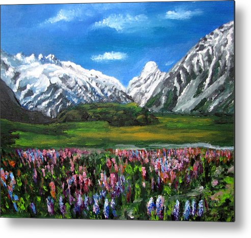 Mountains Landscape Metal Print featuring the painting Mountains Landscape Acrylic Painting by Natalja Picugina