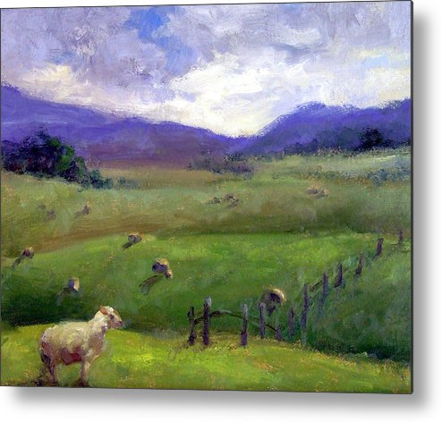 Landscape Painting Metal Print featuring the print New Zealand Sheep Farm by Michelle Philip