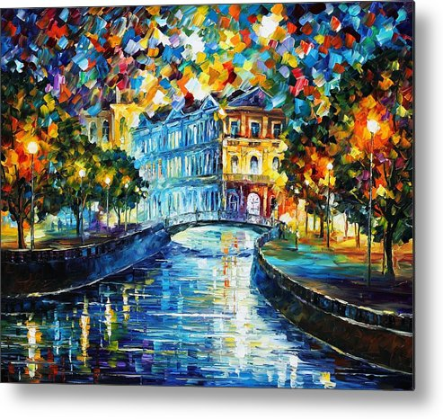 Afremov Metal Print featuring the painting Night River by Leonid Afremov