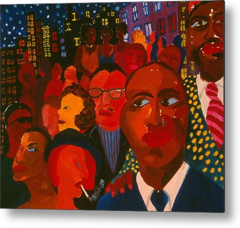 People Of All Kinds Against Night Cityscpe With Sparkeling Stars. Metal Print featuring the painting Nightpeople by Nina Talbot