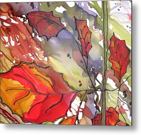 Leaf Metal Print featuring the mixed media Octoberthird by Susan Kubes