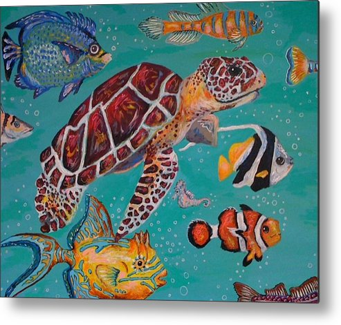 Fish Sea Turtle Clown School Ocean Whimsical Bubbles Metal Print featuring the painting Off To School by Emily Reynolds Thompson