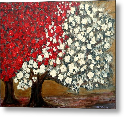 Trees Metal Print featuring the painting One Red Tree by Beth Sebring