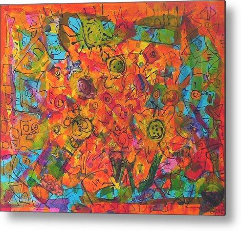 Orange Metal Print featuring the painting Orange Orange by Joyce Goldin
