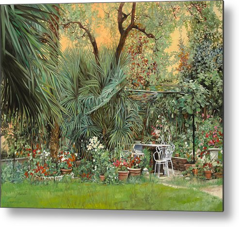 Garden Metal Print featuring the painting Our Little Garden by Guido Borelli