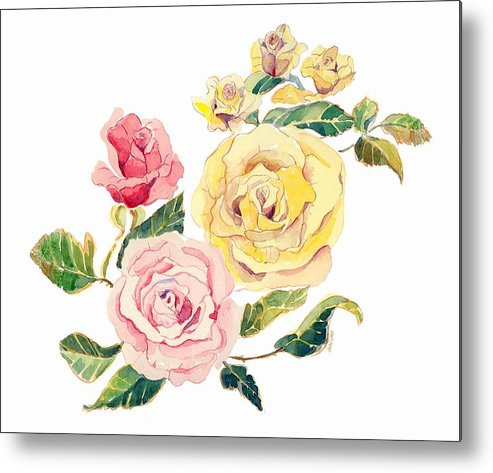 Roses Metal Print featuring the painting Pastel Roses by Arline Wagner