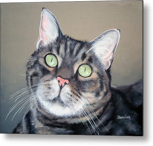 Pet Portraits Painting Animals Dog Cat Horse Fine Art Metal Print featuring the painting Pet Portrait Painting Commission Tiger Cat by Sharon Lamb
