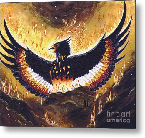 Phoenix Metal Print featuring the painting Phoenix Rising by Melissa A Benson