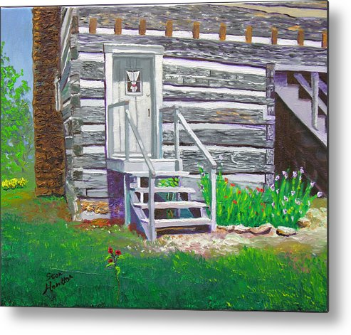 Log Cabin Metal Print featuring the painting Pioneer Village II by Stan Hamilton