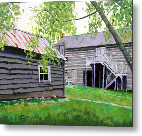 Log Cabin Metal Print featuring the painting Pioneer Village One by Stan Hamilton