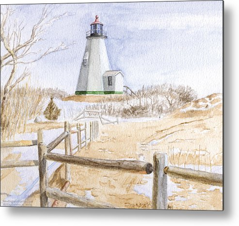 Lighthosue Metal Print featuring the painting Plymouth Light In Winter by Dominic White
