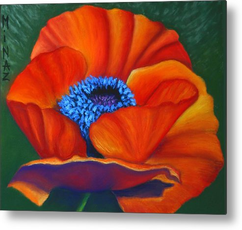 Red Flower Metal Print featuring the painting Poppy Pleasure by Minaz Jantz