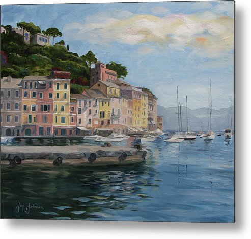 Metal Print featuring the painting Portofino Port by Jay Johnson