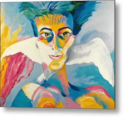 Preciada Azancot Self-portrait Metal Print featuring the painting Preciada Azancot Self-portrait With A Dove by Preciada Azancot