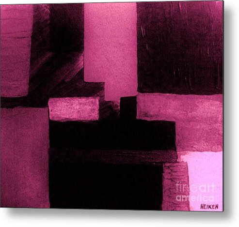 Painting Metal Print featuring the painting Pretty Pink Abstract by Marsha Heiken