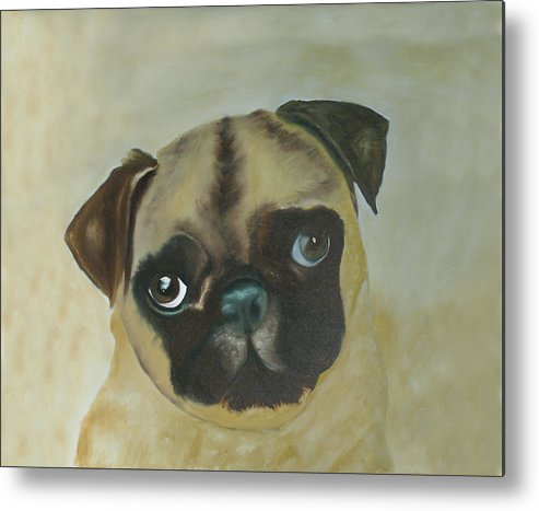 Metal Print featuring the painting Pug by Dick Larsen