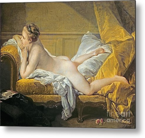 Reclining Nude (miss O'murphy) (oil On Canvas) By Francois Boucher (1703-70) Metal Print featuring the painting Reclining Nude by Francois Boucher