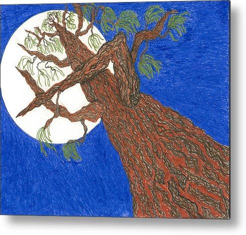 Tree Metal Print featuring the pastel Redwood Tree by Rachel Zuniga