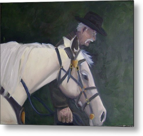 Old Man Horse... Metal Print featuring the painting revised- Man's Best Friend by Toni Berry