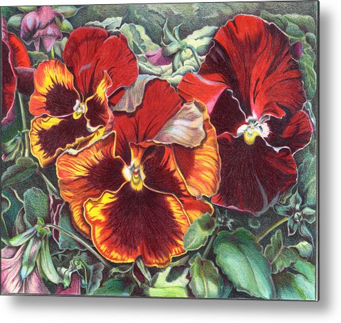 Florals Metal Print featuring the painting Ring Of Fire by Joyce Hutchinson