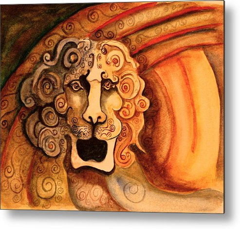 Sketch Metal Print featuring the painting Roaring Lion by Dan Earle