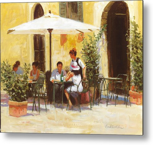Impressionism Metal Print featuring the painting Roman Lunch by Paul Milner