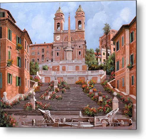 Rome Metal Print featuring the painting Rome-piazza Di Spagna by Guido Borelli