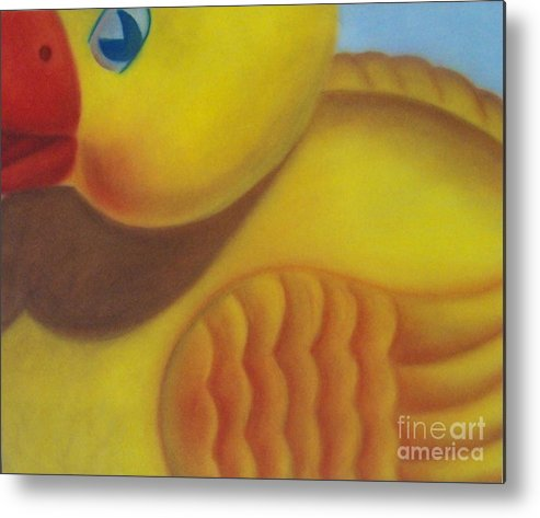 Pastel Metal Print featuring the pastel Rubber Ducky by Emily Young