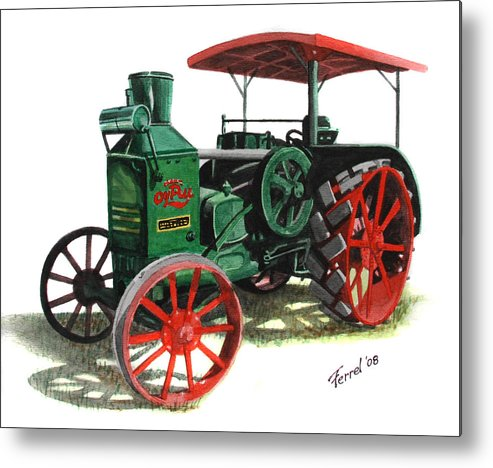 Oil Pull Metal Print featuring the painting Rumely Oil Pull X Tractor by Ferrel Cordle