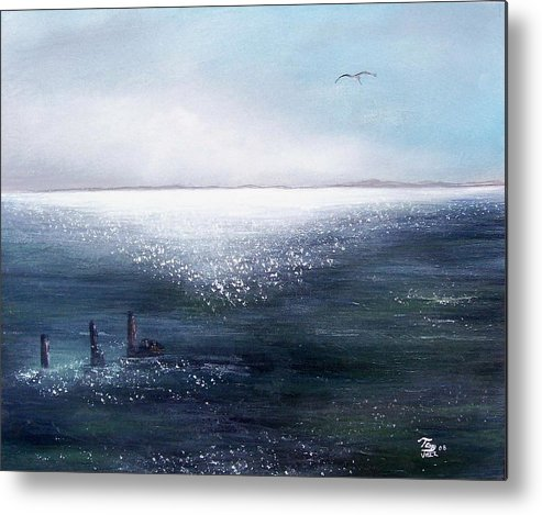 Seascape Metal Print featuring the painting Sea Of Glass by Tony Rodriguez