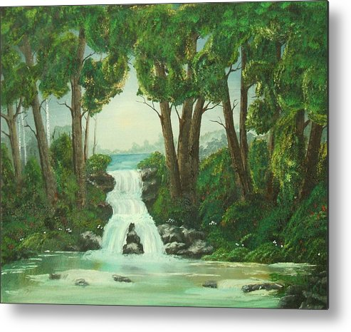 Waterfall Metal Print featuring the painting Serenity by Brandy House