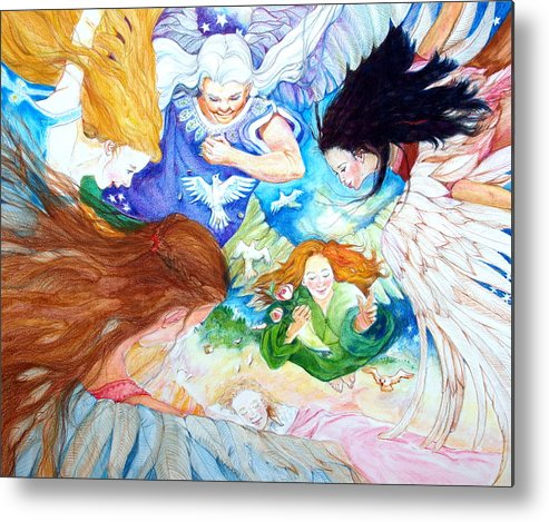 Angels Metal Print featuring the drawing Set Your Mind On Things Above by Jill Iversen