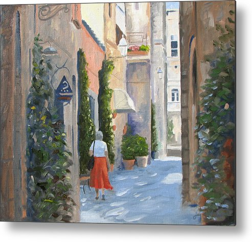Orvieto Shopping Metal Print featuring the painting Shopping In Orvieto by Jay Johnson