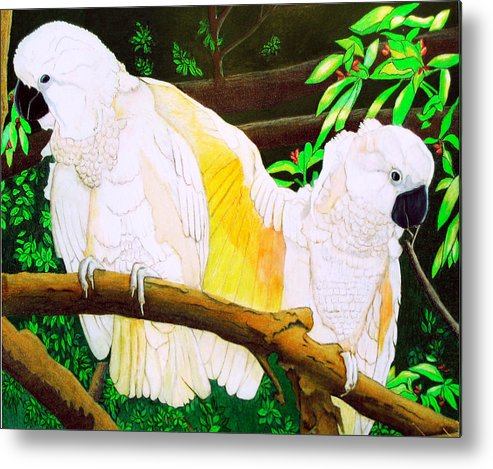 Birds Metal Print featuring the painting Shy Lovers by Myrna Salaun