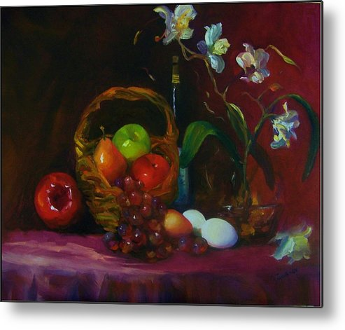 Fruit Basket Metal Print featuring the painting Simple Gifts by Maryanne Jacobsen