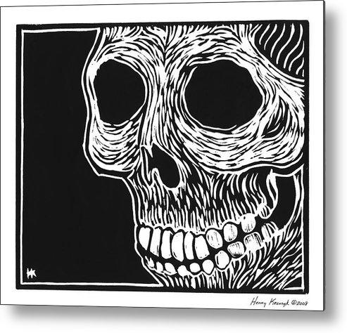 Krauzyk Metal Print featuring the print Skull Aware by Henry Krauzyk